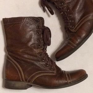 Steve Madden Brown Leather Troopa Boots sz 7-1/2